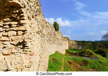 Ruins of fortification (bulwark). Medieval rampart.