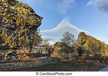 Ruins of fortifications in ancient Roman city of Diocletianopolis, town of Hisarya, Bulgaria