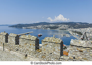 Ruins of Fortress in city of Kavala, Greece