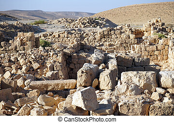Ruins of fortress in Meizad Tamar in Judea desert, Israel
