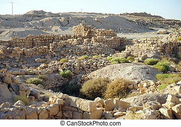 Ruins of fortress Meizad Tamar in Judea desert, Israel