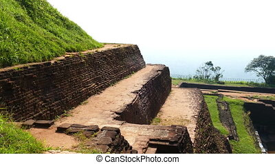 Ruins of fortress on top of Sigiriya Lion Rock, Sri Lanka