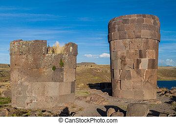 Ruins of funerary towers in Sillustani, Peru