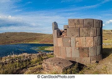 Ruin of a  funerary tower in Sillustani, Peru
