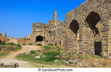 Ruins of Golconda fort in Hyderabad city, India
