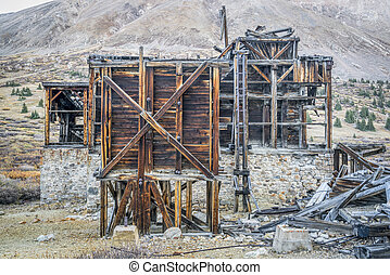 ruins of gold mine in Rocky Mountains