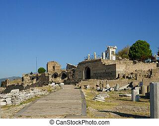 Ruins of Greek ancient city of Pergamum, Izmir, Turkey