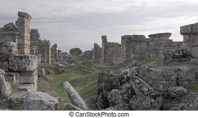 Ruins of Hierapolis in Pamukkale, Turkey - Steadicam shot of...