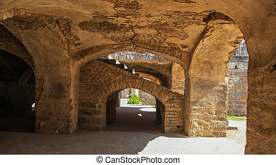 Ruins of historic Golconda fort in Hyderabad, India