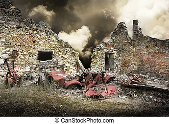 Ruins of houses destroyed by bombardment