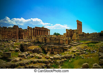 Ruins of Jupiter and Bacchus temples and great court of...