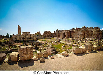 Ruins of Jupiter temple and great court of Heliopolis at...