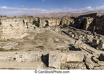 Ruins of Jupiter temple and great court of Heliopolis in...