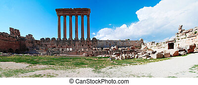 Ruins of Jupiter temple and great court of Heliopolis,...