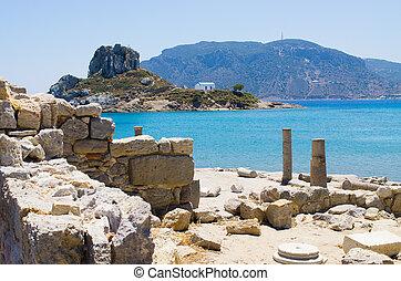 Ruins of Kefalos beach on Kos island, Greece