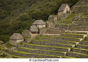 Ruins of Lost Incan City Machu Picchu near Cusco in Peru - ...