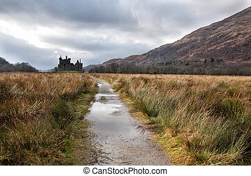 Ruins of medieval castle in Scotland - Ruins of old medieval...
