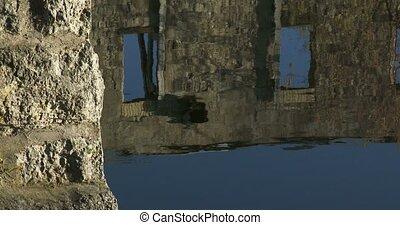 Ruins of old bridge on Grand River