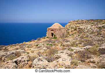 Ruins of old fortress on Gramvousa island, Crete, Greece