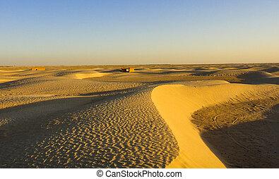 Ruins of old villages in Sahara desert