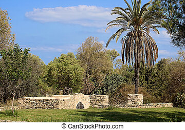 Ruins of old well in the park, Ashkelon, Israel