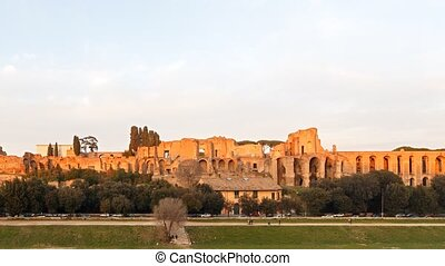 Ruins of Palatine hill palace in Rome, Italy. SunSet. TimeLapse