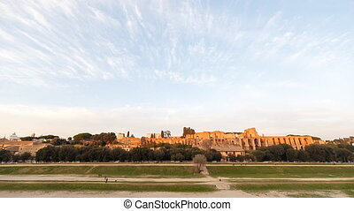 Ruins of Palatine hill palace in Rome, Italy. Time Lapse