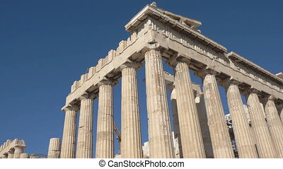 Ruins of Parthenon temple in Athens Acropolis, Greece. Zoom...