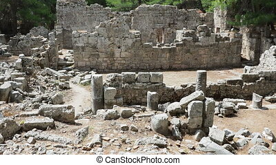 Ruins of public baths in ancient Phaselis city. Antalya...