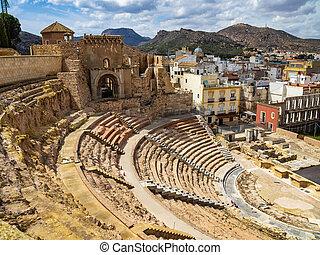 Ruins of roman amphitheater in Cartagena, Spain