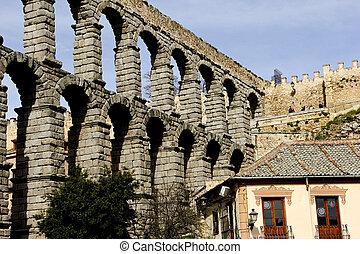 Ruins of Roman Aqueduct in Segovia Spain
