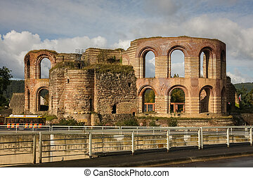 Ruins of roman baths in Trier, Germany