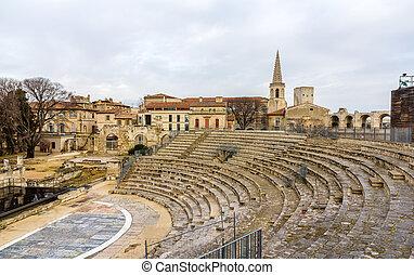 Ruins of roman theatre in Arles - UNESCO heritage site in France