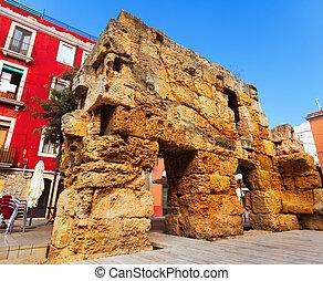 ruins of Roman walls in Tarragona