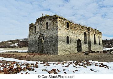 Ruins of Saint Ivan Rilski church, Zhrebchevo Lake, Bulgaria