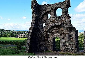 Ruins of St Anthony's Chapel in Edinburgh
