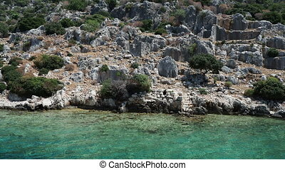 Ruins of Sunken city on Kekova, small Turkish island near...