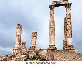 ruins of Temple of Hercules at Amman Citadel - Travel to...