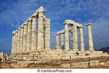 Ruins of Temple of Poseidon in Greece.