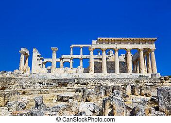 Ruins of temple on island Aegina, Greece - archaeology...
