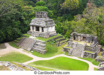 Ruins of Temples of the Cross Group, Palenque, Chiapas,...