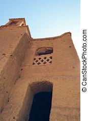 Ruins of the abandoned mud brick city Kharanaq near the ancient city Yazd in Iran