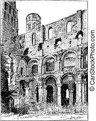 Ruins of the Abbey of Jumieges, vintage engraving.