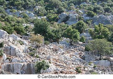 Ruins of the ancient city Kekova .
