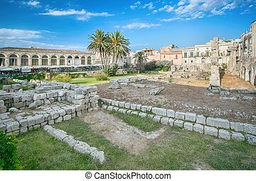 Ruins of the ancient greek doric temple of Apollo in Siracusa
