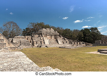 Ruins of the ancient Mayan city of Edzna near campeche, mexico..