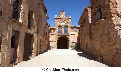 Ruins of the ancient village of Belchite. Spanish village...