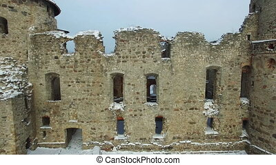 Ruins of the beautiful castle in town of Cesis was a...