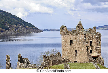 Castle Grant at Loch Ness in Scotland - ruins of the blownup...