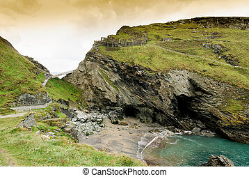 Ruins of the castle of Camelot and Merlin's Cave at Tintagel...